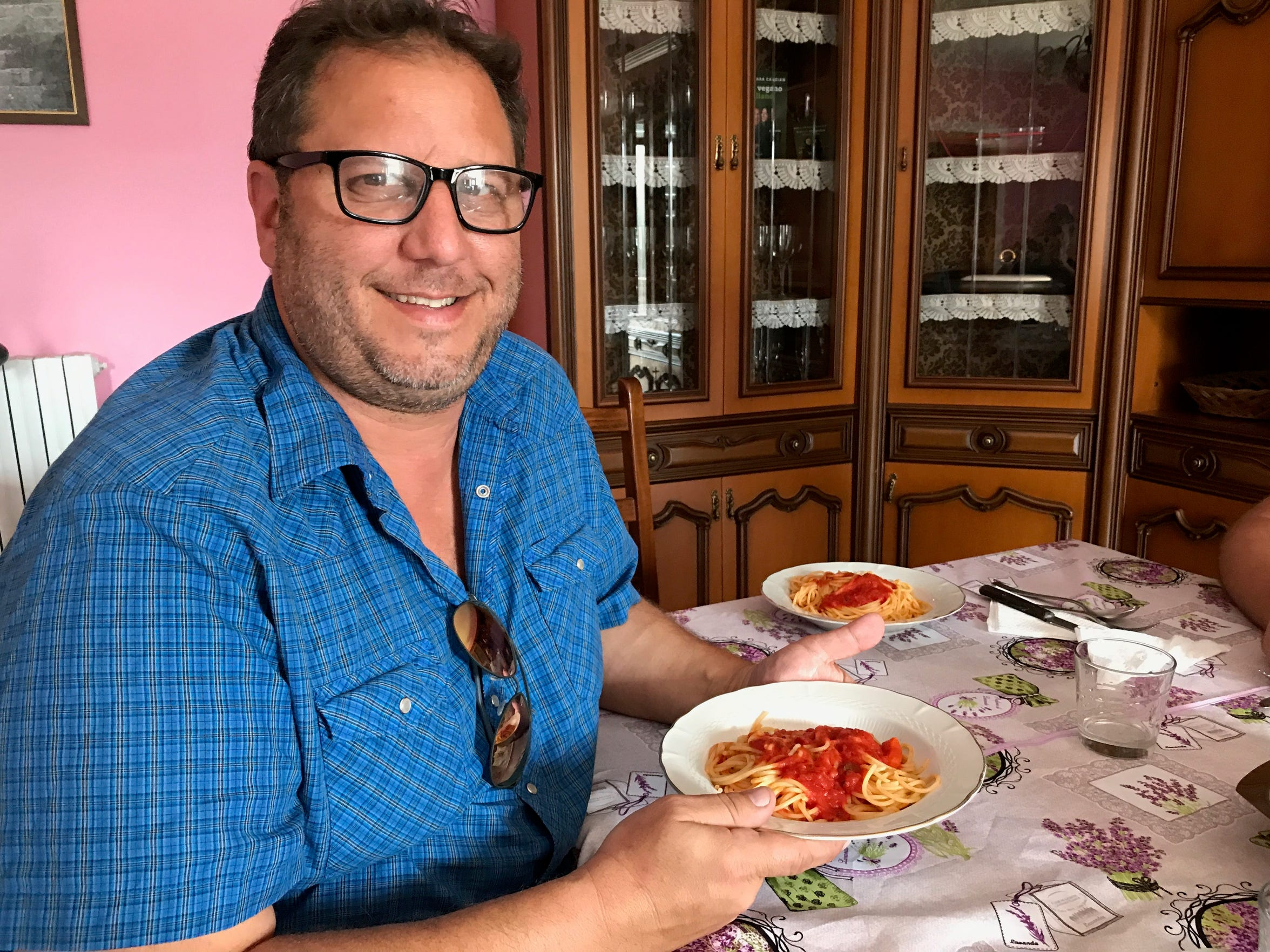 Rick Marino with a homemade meal in Guardia Lombardi