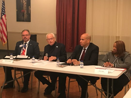 From left to right: New Jersey VA Health Care System Director Vincent F. Immiti, Rep. Bill Pascrell, Sen. Cory Booker, and director of VA Newark Regional Office Lille Nuble listened to female veterans share experiences and issues on Nov. 10, 2017.