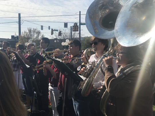 The Cheatham County High School band performs at the
