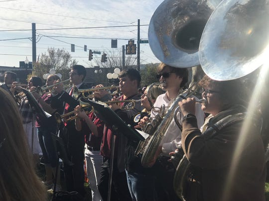 The Cheatham County High School band performs at the annual Veterans Day ceremony in Ashland City on Friday.