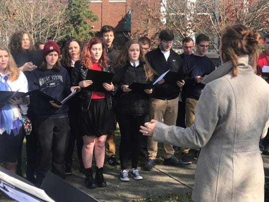 The Cheatham County High School choir performs at the annual Veterans Day ceremony in Ashland City on Friday.
