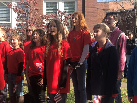The Cheatham Middle School choir performs at the annual Veterans Day ceremony in Ashland City on Friday.
