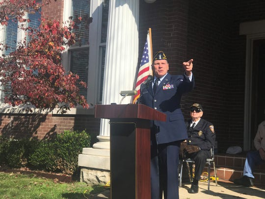 American Legion Post 40 Commander Bob Counter speaks