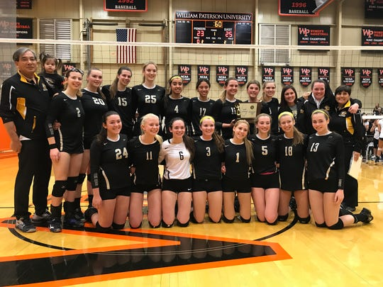 The River Dell girls volleyball team captured its third Group 2 state championship in four years on Saturday, Nov. 11, 2017 at William Paterson University. The Golden Hawks defeated NV/Demarest, 25-14, 25-23.