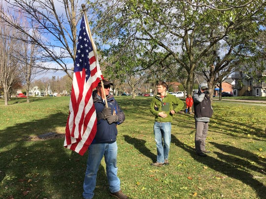 Gus Klein, a veteran of the war in Afghanistan, attended the annual Veterans Day celebration in Battery Park in Burlington, Vermont, on Nov. 11, 2017.