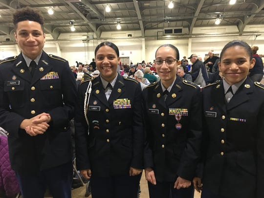 Members of William Penn Senior High School's color guard participate in York County's annual Veterans Day ceremony and breakfast on Saturday, Nov.11.  (L to R: Justin Puente, Jaylin Laboy, Stephania Rivas, Jessica Caraballo)  (Photo by Lindsay C. VanAsdalan)