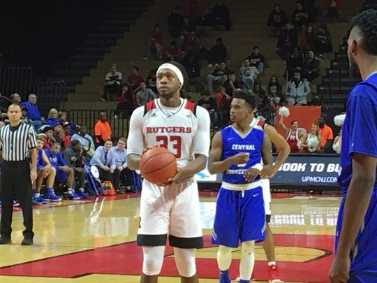 Rutgers forward Deshawn Freeman shoots against Central Connecticut State