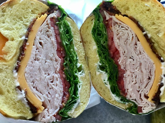 The turkey club ($10.99) includes thinly sliced Boar's Head turkey breast, crispy bacon, sliced lettuce and tomato on a choice of bagel.