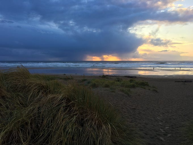A storm rolls in over the beach in Manzanita on the
