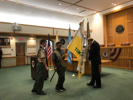 Avery Rowe, 14, left, and Romel Cruz-Easton, 13, both of Boy Scouts Crew 129 volunteered at a U.S. naturalization ceremony Monday at Toms River Town Hall.