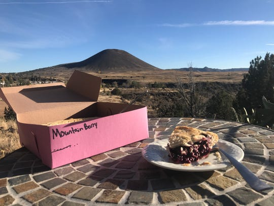 "A slice ""Mountain Berry"" from Veyo Pies is served up"