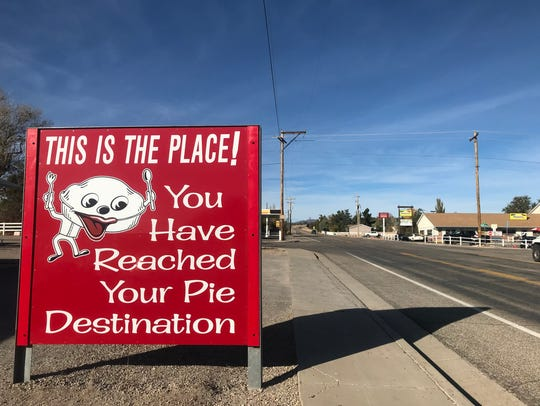 A sign welcomes visitors to Veyo Pies, the popular