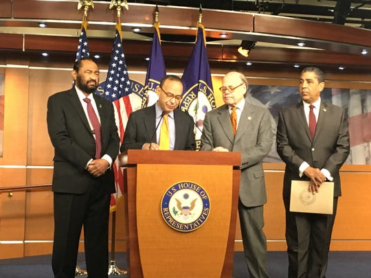 House Democrats announce at a press conference in Washington, DC, on Nov. 15, 2017, that they have filed articles of impeachment against President Trump. Pictured from left to right are Reps. Al Green of Texas, Luis Gutierrez of Illinois, Steve Cohen of Tennessee and Adriano Espaillat of New York.