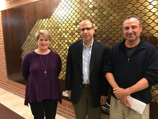 Among Temple Sholom of West Essex's leaders are, from left, Co-President Lynne Brennen, Rabbi Laurence Groffman and Education Director Michael Melasky.