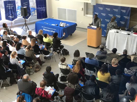 Wes Bellamy, the vice-mayor of Charlottesville, Va., spoke at a conference at Berkeley College Nov. 17, 2017. Pictured to his right is Elizabeth Williams-Riley, president and CEO of the American Conference on Diversity.