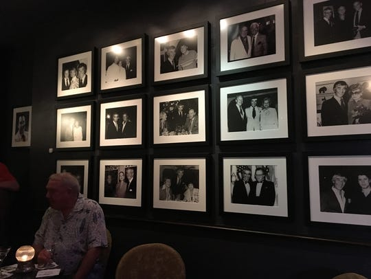 The wall of fame inside Melvyn's Restaurant in Palm