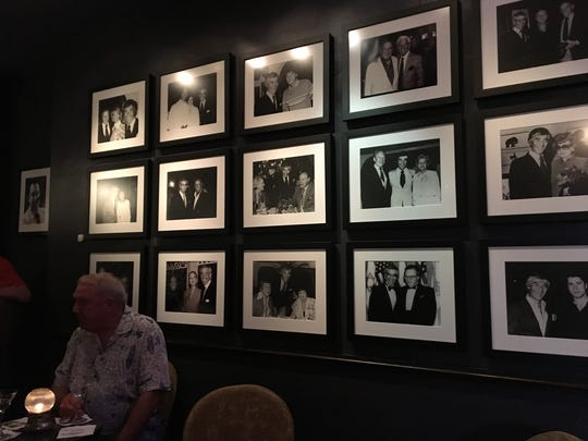 The wall of fame inside Melvyn's Restaurant in Palm Springs after renovations and a freshening up.  (Nov. 2017)