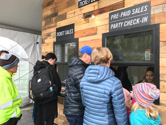 People buying tickets at Salem On Ice, located at Riverfront