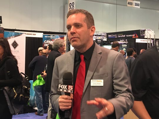 Chris Walsh, vice president of editorial and strategic development at Marijuana Business Daily,speaks with the media. He was a keynote speaker at the conference.