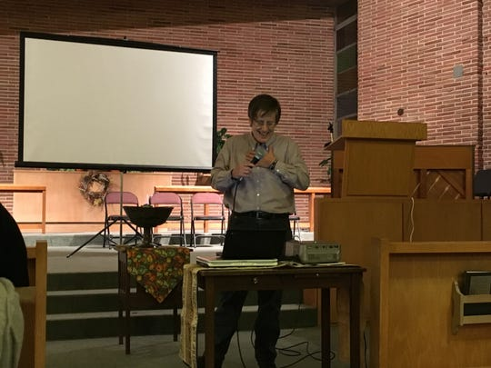 Pastor Lynn Hopkins speaks at Unitarian Universalist Fellowship of Montgomery's Transgender Day of Remembrance on Nov. 11, 2017.