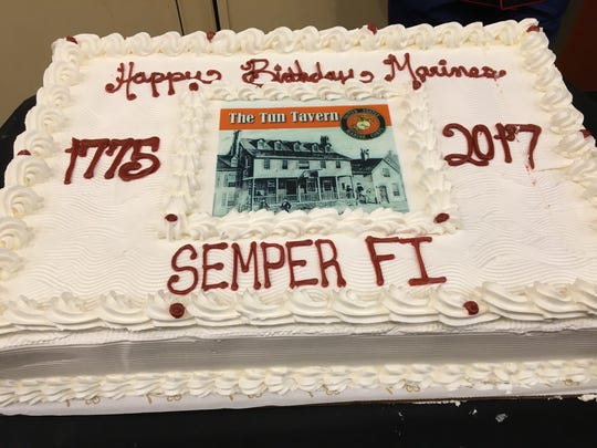 The cake at the Marine Corps Birthday Ball hosted by