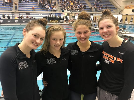 Brighton's 200 medley relay team of (left to right) Megan Lubinski, Lindsey Witte, Julianne Libler and Olivia Anderson finished seventh in the state Division 1 meet.