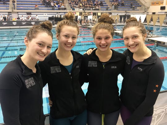 Brighton's 200 freestyle relay team of (left to right) Megan Lubinski, Kellie House, Julianne Libler and Chloe Reed finished second in the state Division 1 meet.