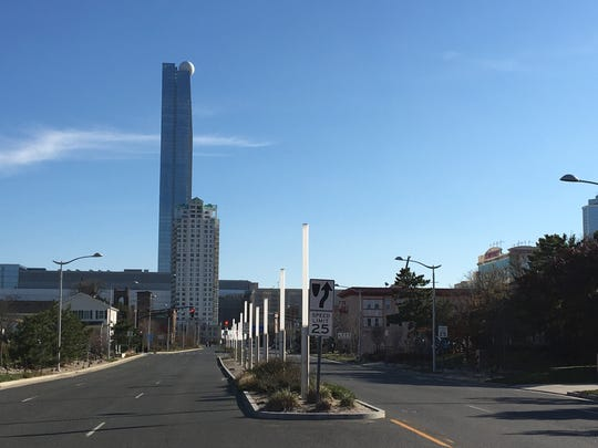 The former Revel casino, now shuttered, sits two blocks east of the Swains' home in Atlantic City.
