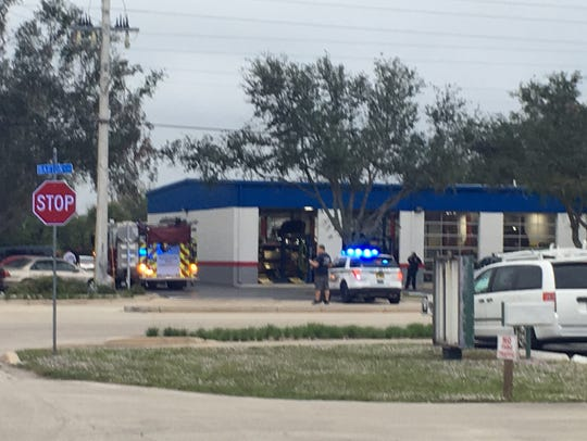 Police on scene at Schlenker's Automotive in Rockledge.