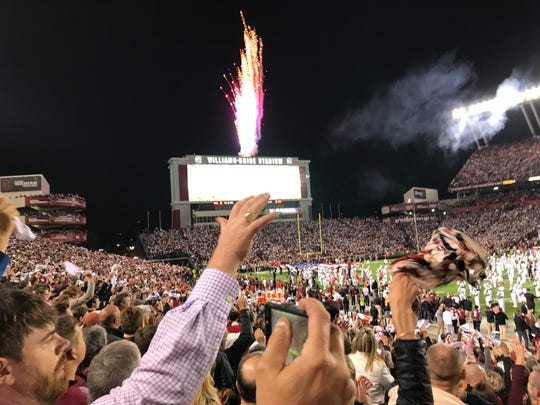 This was the high point of the night for Gamecock fans at Williams Brice Stadium: The rockets red glare during the National Anthem.