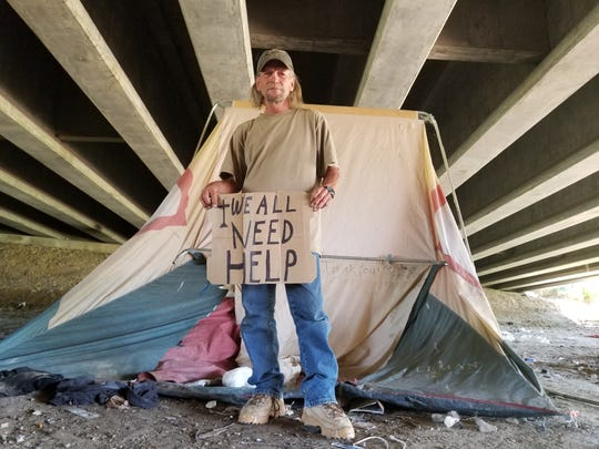Jack Jarvey is a homeless veteran who lives underneath a bridge. The Mayor's Challenge is seeking to end homelessness in the area.