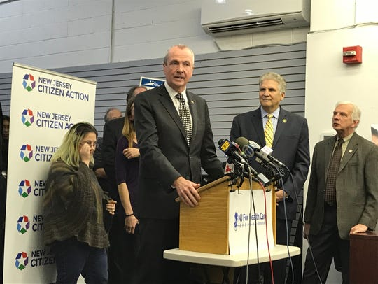 Democratic Gov.-elect Phil Murphy speaks about the