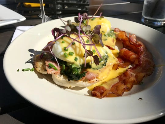 Eggs Benedict with local microgreens from Table & Tap.
