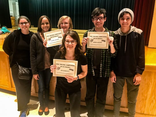 """Margot Flanders (center) with her classmates in Wilson Memorial High's Drama Dept. The group won first place at the VHSL district competition for the one-act play, """"Within the Shadows."""" Left to right: Madison Fitzgerald, Kristina Gooden, Shyanne Hensley, Margot Flanders, Sam Heller and Alex Heller."""