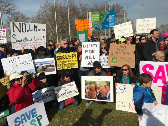 Protesters at a December rally against a possible second marina at Liberty State Park in Jersey City.