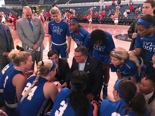 MTSU coach Rick Insell talks with his team ahead of its game at Ole Miss in Oxford, Miss., on Nov. 29, 2017.