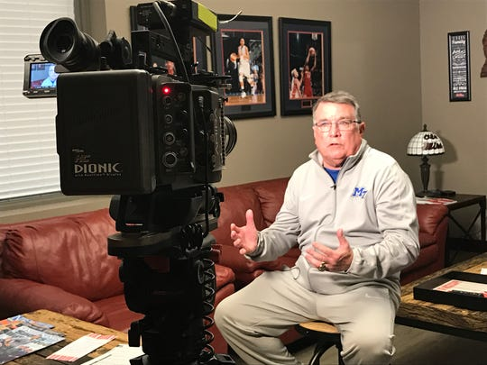 MTSU coach Rick Insell is interview by Ole Miss Athletics at Tuohy Basketball Center in Oxford, Miss., on Nov. 28, 2017.