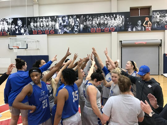 The MTSU women's basketball team concludes its practice at Ole Miss' Tuohy Basketball Center in Oxford, Miss., on Nov. 28, 2017.