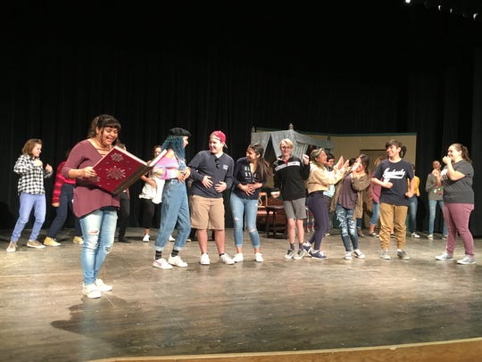"""Student actors attend a rehearsal for """"Humbug High,"""""""