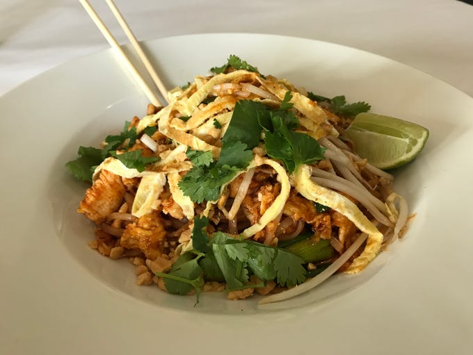 The Phat Thai at Thai Mii Up is garnished with strips