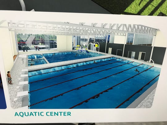 A rendering of the aquatics center planned for the