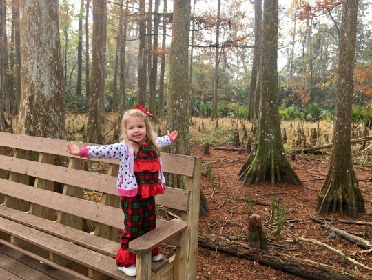 Avery Guidry, 3, takes in the sights along the nature
