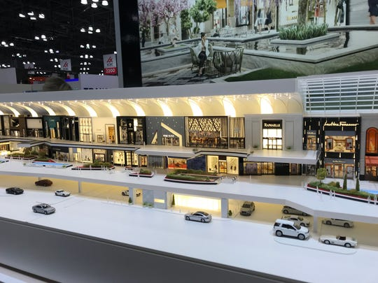 A model of the American Dream project on display at the deal-making convention at the Javits Center.