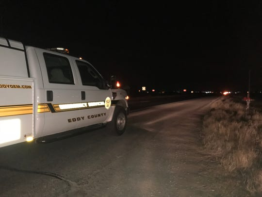 An Eddy County Emergency vehicle on U.S. Highway 285