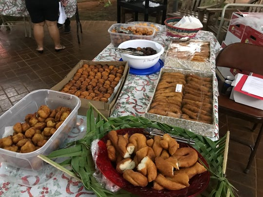 Different varieties of buñelos, or CHamoru donuts, were served at the Puengen Minagof Noche Buena event on Dec. 7, 2017.