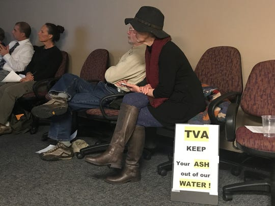 Concerned ratepayers listen to an informational session on TVA's Kingston Fossil Plant discharge permit before a public hearing Thursday at the Tennessee Department of Environment and Conservation's Knoxville office.