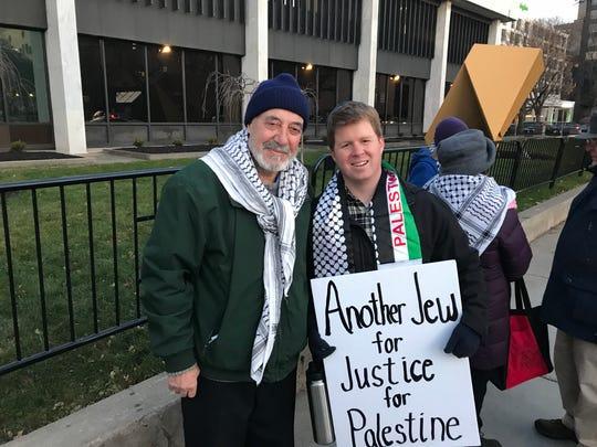 Basem Ashkar, protest organizer, and Nate Baldo are