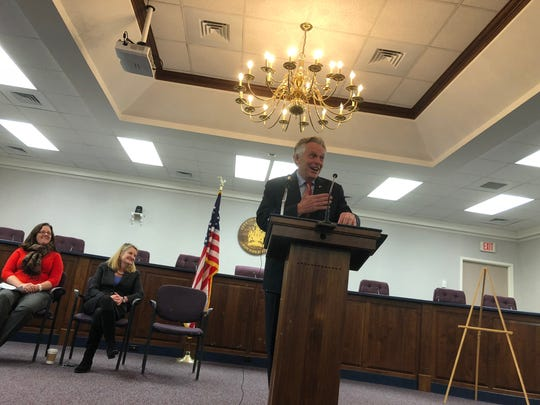 Virginia Gov. Terry McAuliffe talks to a group on Friday, Dec. 8, 2017 about how the funds from the DuPont settlement will impact Waynesboro and the surrounding areas.