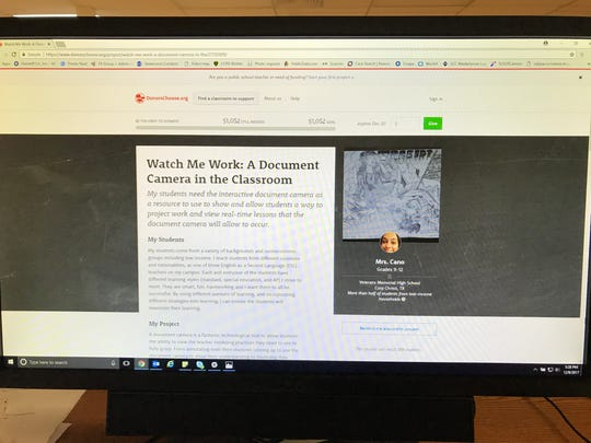 Michelle Cano's donorschoose project page includes a post that explains how a document camera could be of use to the students in her classes. A document camera projects images onto a screen for students to follow lessons. It also can record lessons and can be played by a student later on.