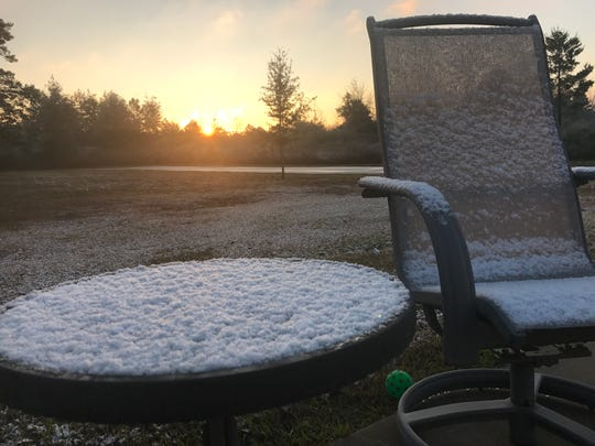 Snowfall in Milton, Fla., in Santa Rosa County on Saturday, Dec. 9, 2017